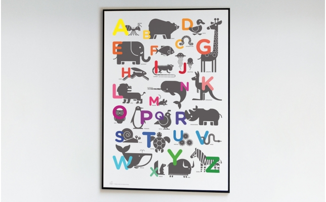 poster enfant abc alphabet poster animaux chambre b b. Black Bedroom Furniture Sets. Home Design Ideas
