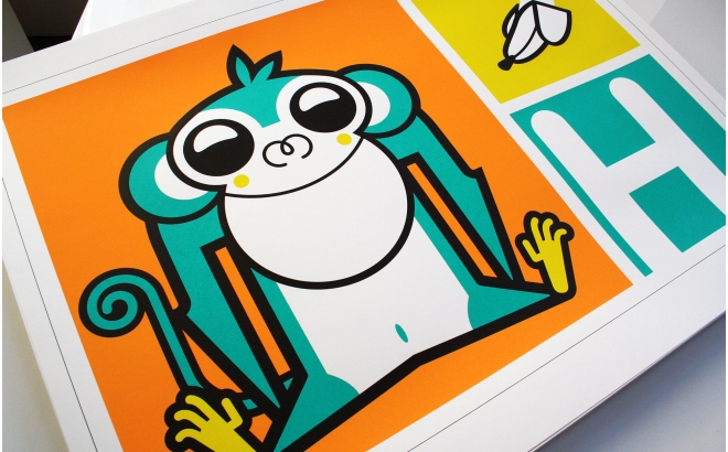 monkey Kids Silkscreen Art Print