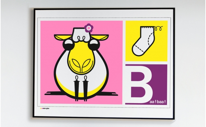 sheep Kids Silkscreen Art Print