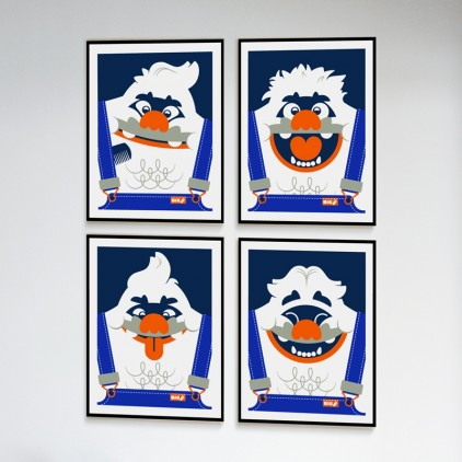 big foot yeti Kids Silkscreen Art Print