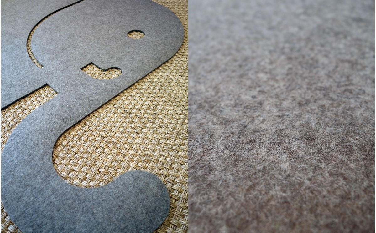 Alfombra infantil de fieltro elefante alfombra animal decorativo para habitaciones infantiles o - Alfombras infantiles grandes ...