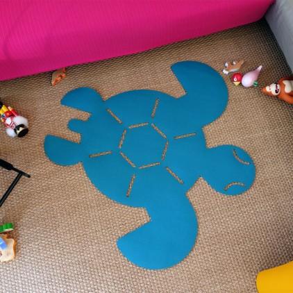 tapis enfants en feutre tortue bleue