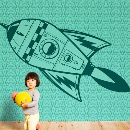 mural papel pintado cohete