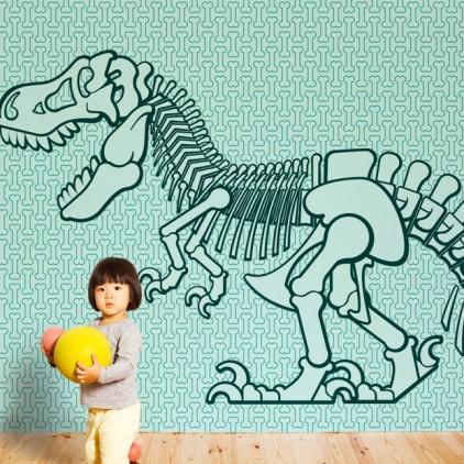 mural papel pintado dinosaurio