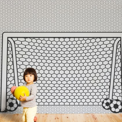 kids wallpaper mural football soccer goal post net