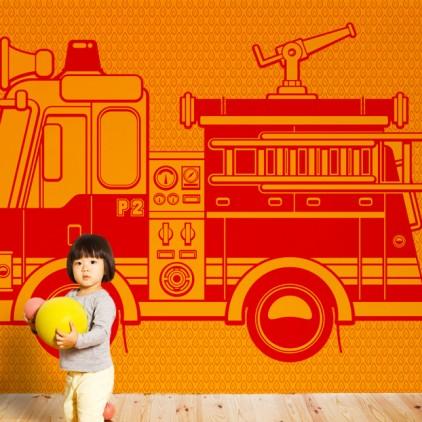 mural papel pintado camión