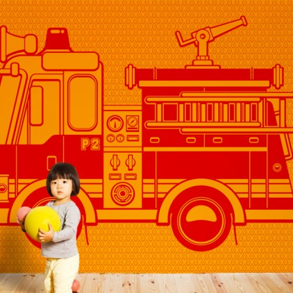 wallpaper mural fire truck