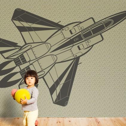 mural papel pintado avión de caza