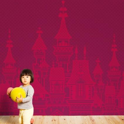 fresque papier-peint chateau de princesse