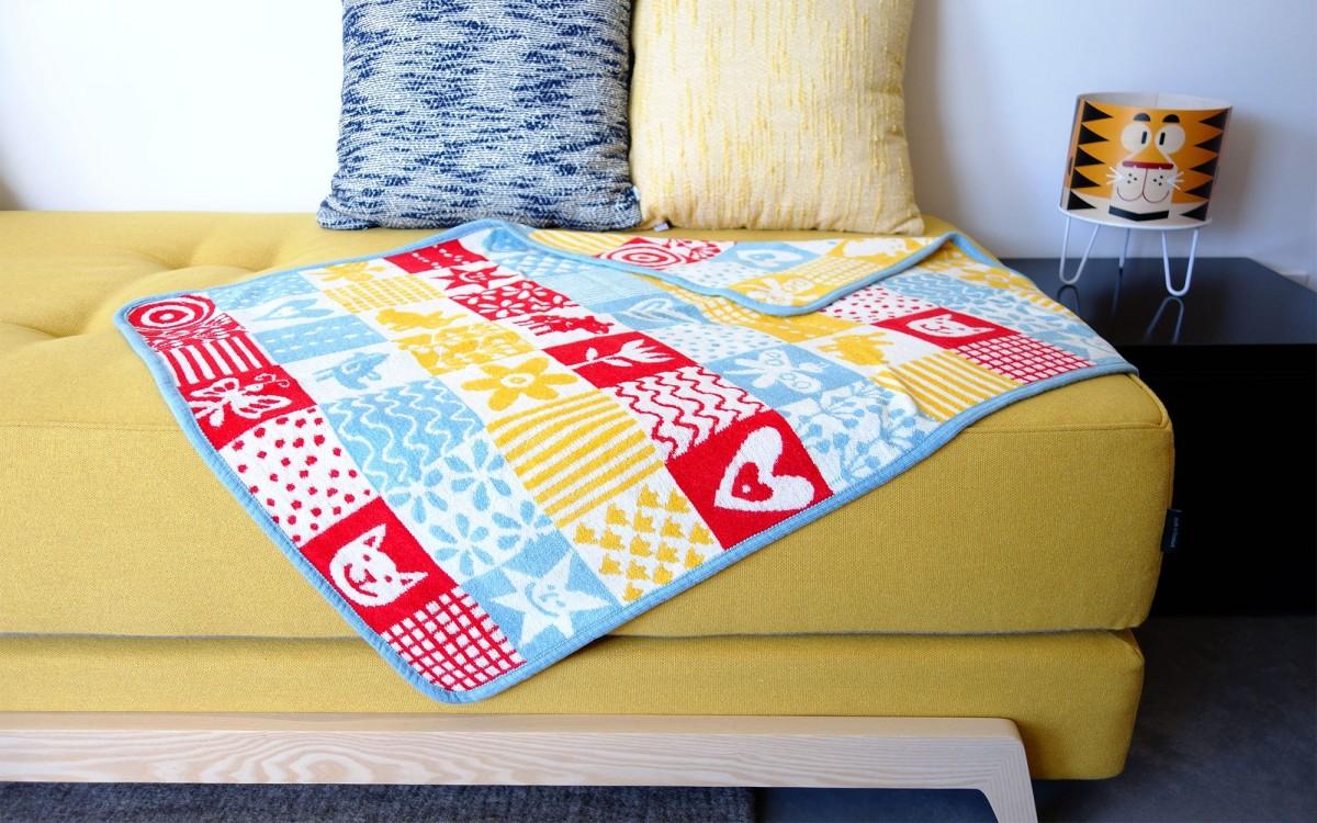couverture bébé en coton quilt (bleu)