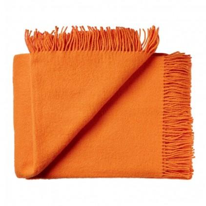 Manta infantil de lana merino Virgen ecológica naranja
