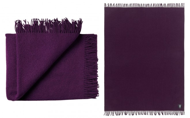Eggplant purple High Quality Scandinavian Merino wool kids Blanket