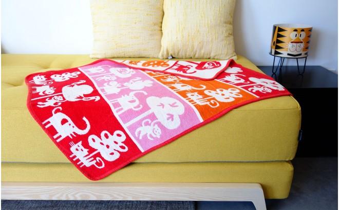 couverture coton bébé enfant klippan safari rouge
