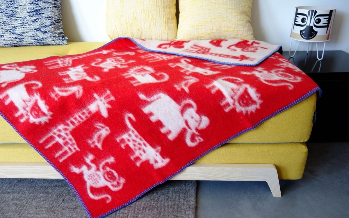wool blanket jungle (red)
