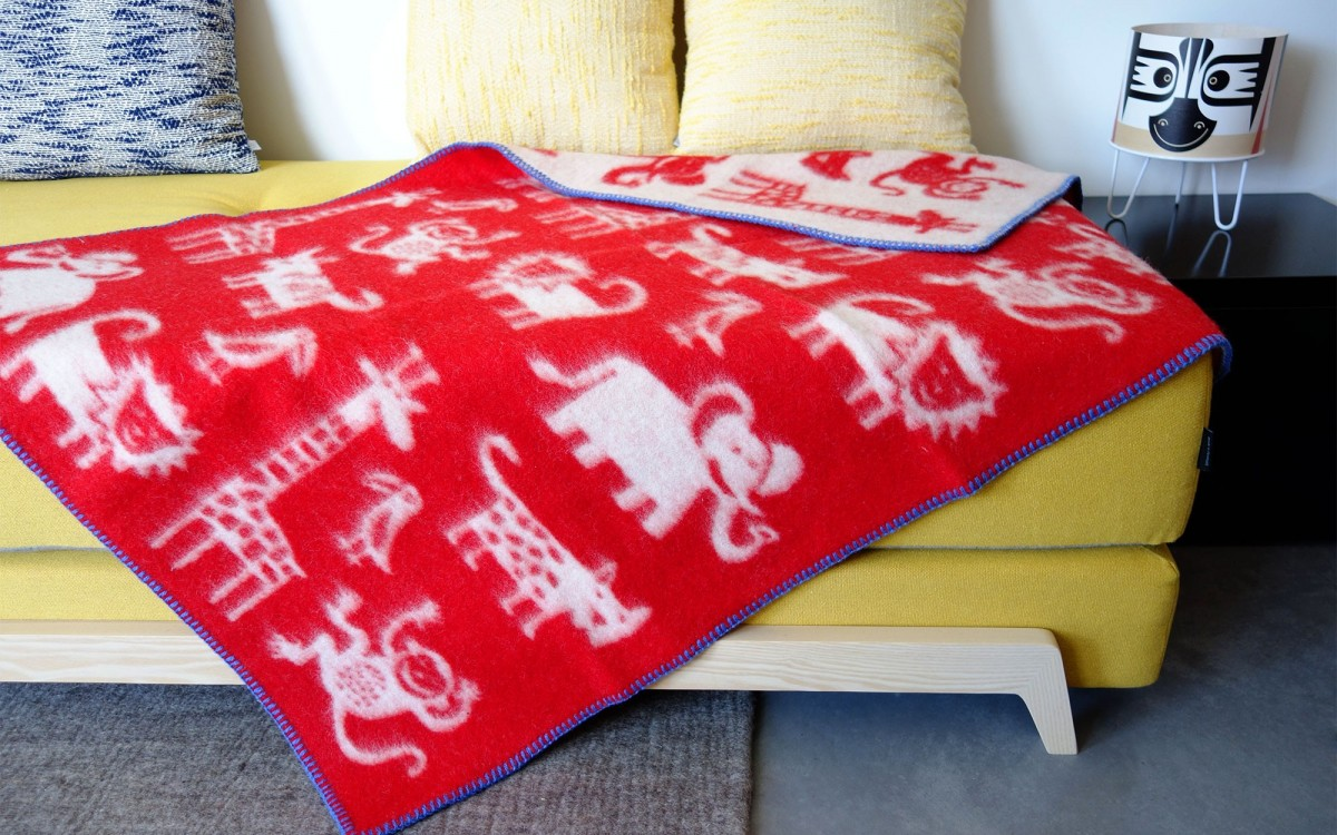 couverture laine jungle (rouge)