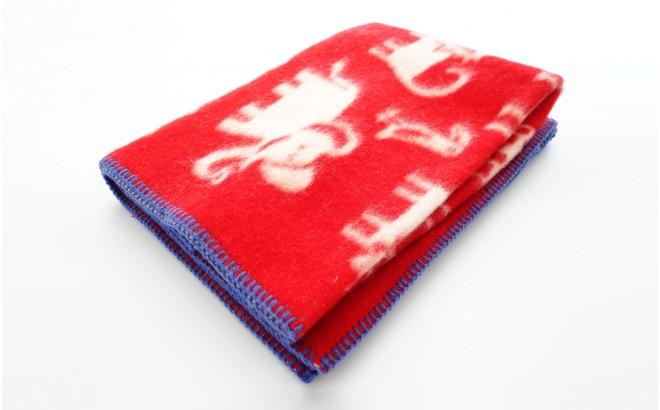 couverture laine bébé enfant klippan jungle rouge