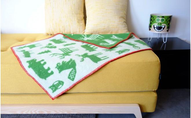 couvertures laine bébés enfants klippan forest vert