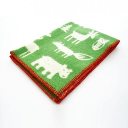 couverture laine bébé enfant klippan forest vert