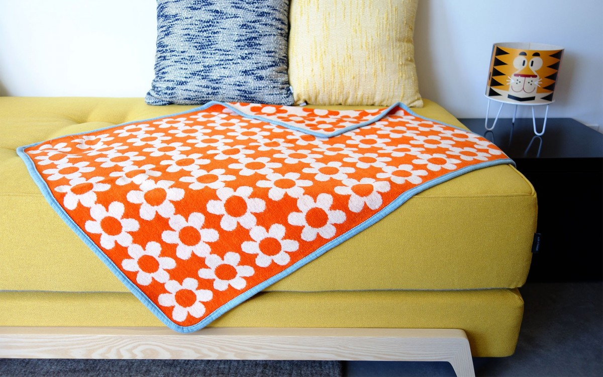 couverture coton flower power (orange)