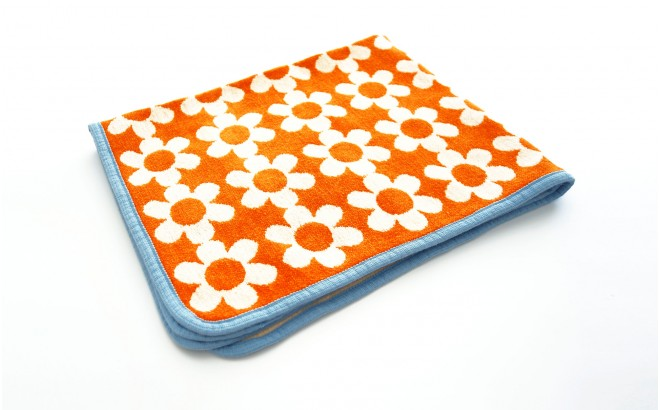 baby children kids cotton blanket klippan flower power orange