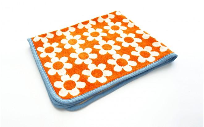 manta infantil algodón bebé niño niña klippan flower power naranja