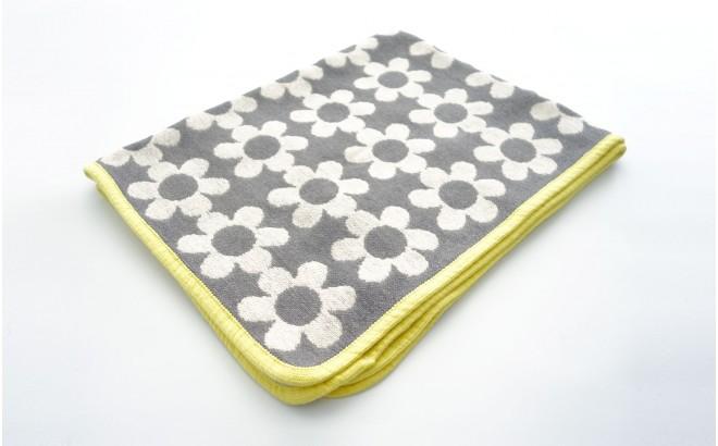couverture coton bébé enfant klippan flower power gris