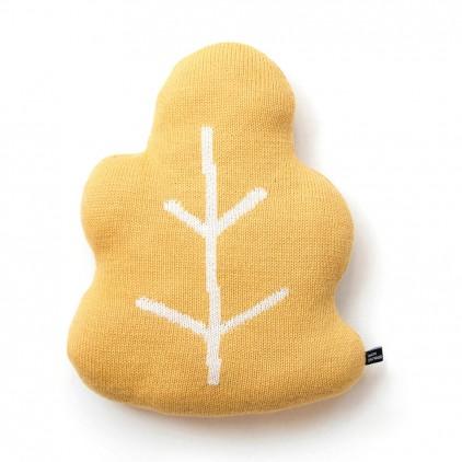 coussin feuille de chêne jaune par Main Sauvage