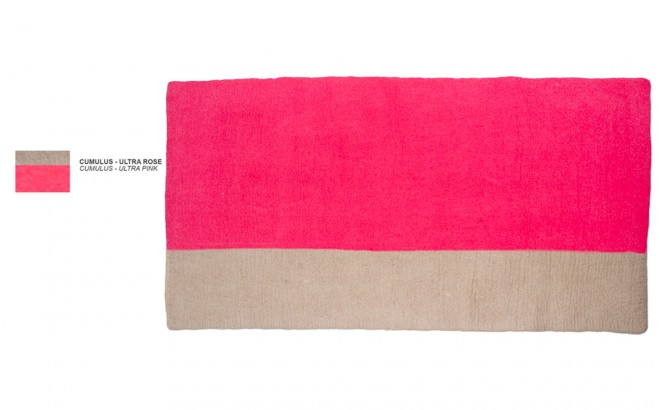 kids pink felt rectangle rug Potala by Muskhane