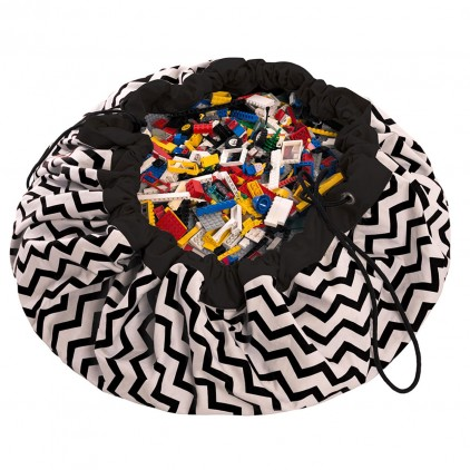 Toy Storage Bag and Portable Play Mat Toys Organizer Play and Go zigzag black
