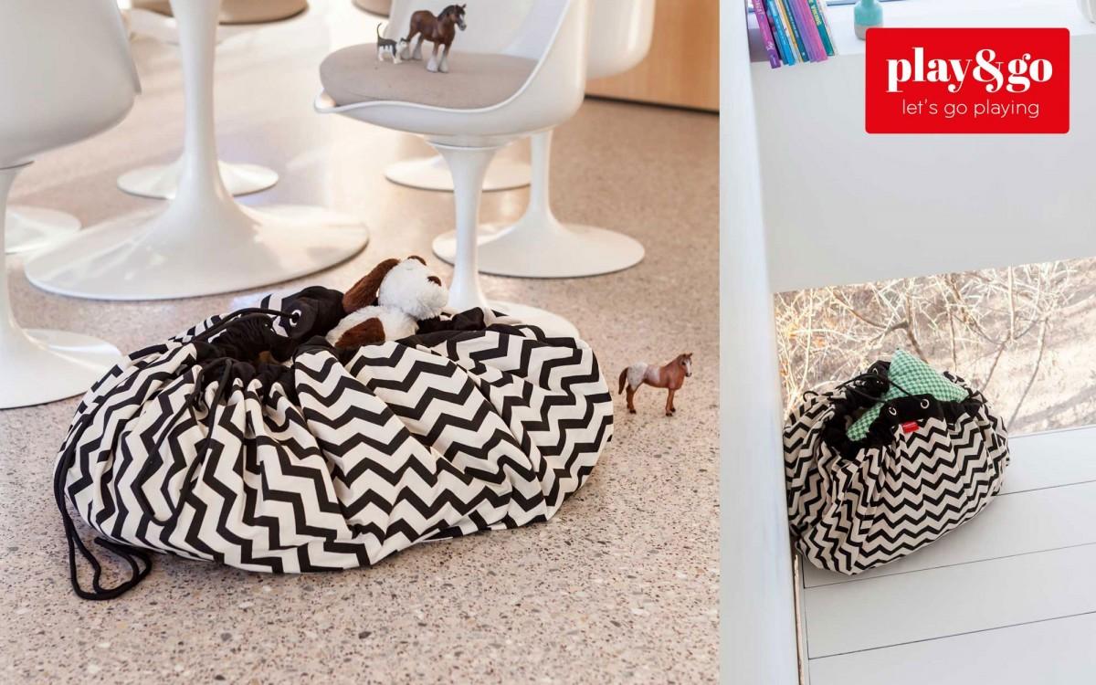 sac et tapis de jeux zigzag noir