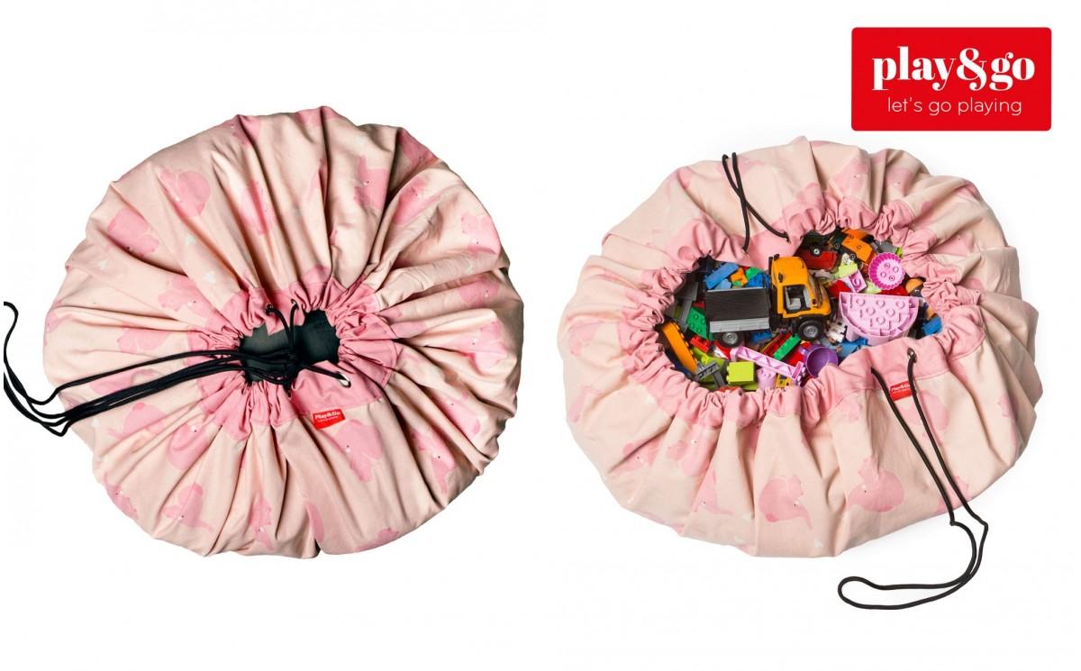 sac rangement de jouets et tapis de jeux play and go el phants roses pour chambres filles. Black Bedroom Furniture Sets. Home Design Ideas