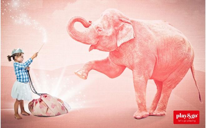 Bolsa de Almacenamiento Play&Go Elefante Rosa