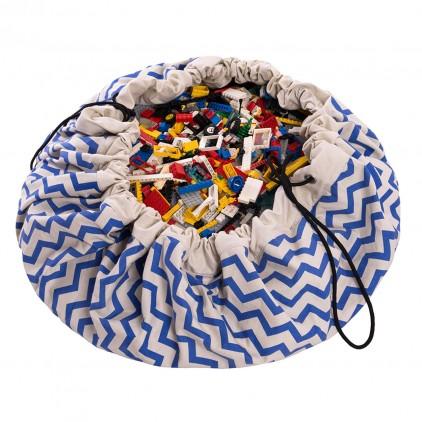 Saco Alfombra de Almacenamiento Play and Go zigzag azul