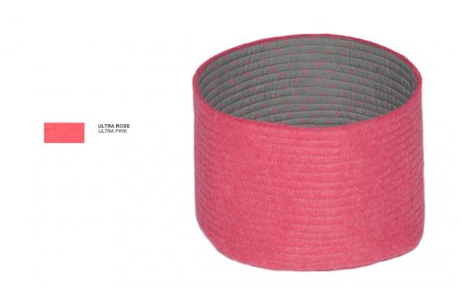 cestas infantiles reversibles de fieltro rosa S por Muskhane