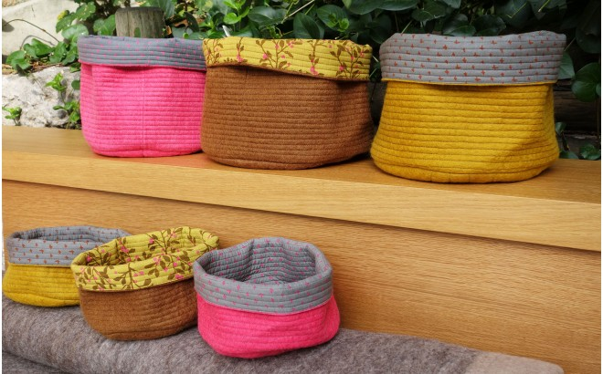 reversible pink felt basket