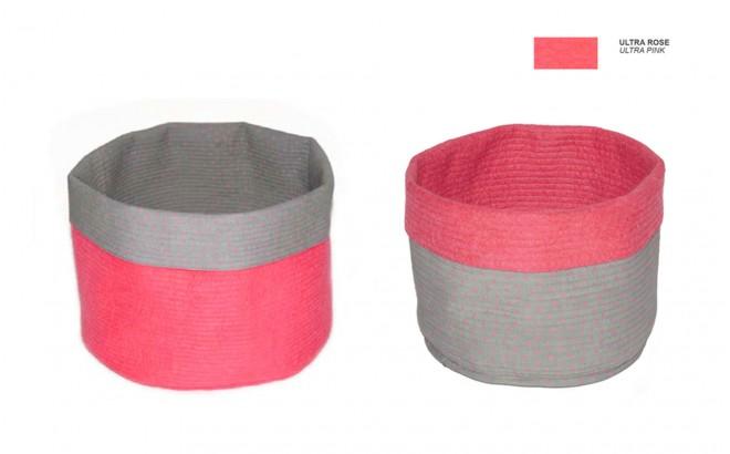 cestas infantiles reversibles de fieltro rosa M por Muskhane