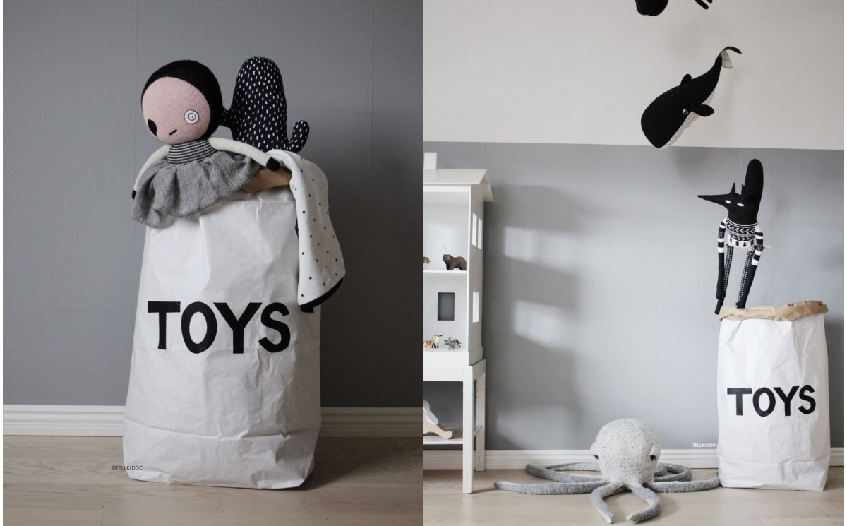 sac de rangement toys en papier pour chambres enfants panier jouets par tellkiddo. Black Bedroom Furniture Sets. Home Design Ideas