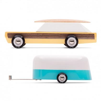 Woodie car and Camper trailer