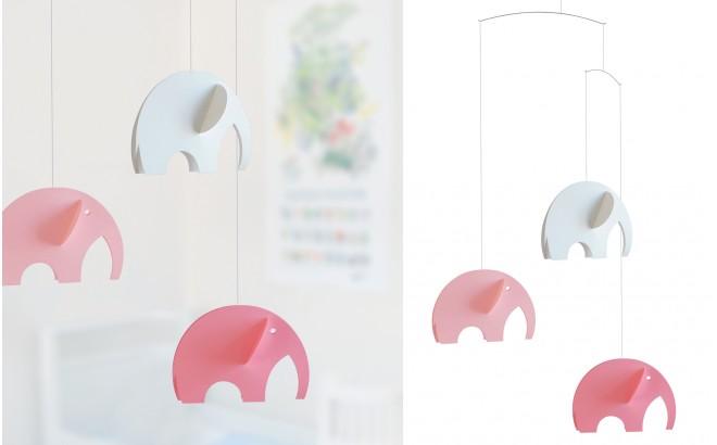 móvil elefante Flensted rosa y blanco para habitación infantil