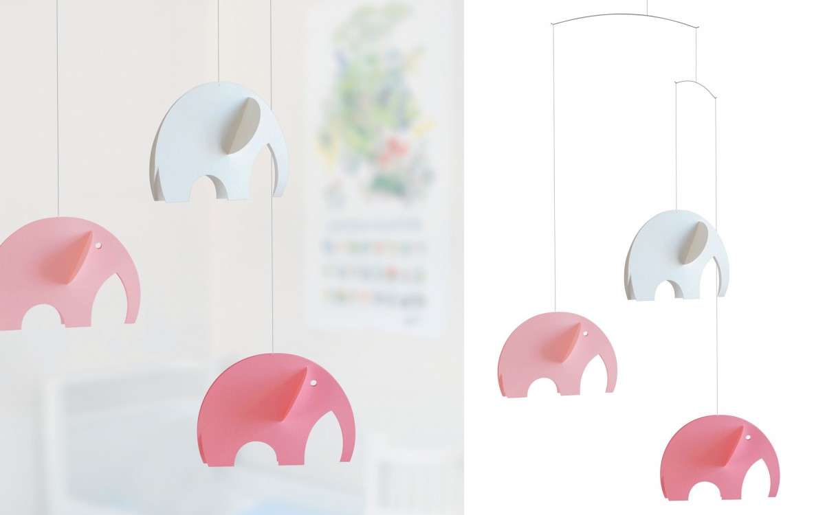 elephants baby mobile (pink)