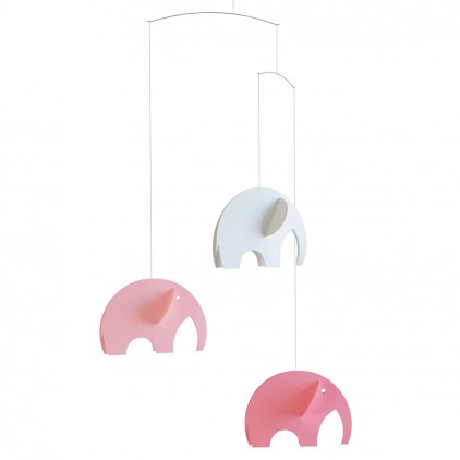 pink elephant baby mobile Flensted for baby nursery decoration