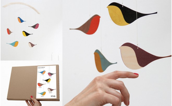 wooden bird mobile for baby nursery decoration