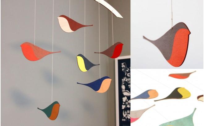 móvil pájaros de madera para decoración habitación bebé