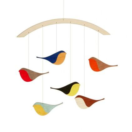 mobile oiseaux bois pour décoration chambre bébé