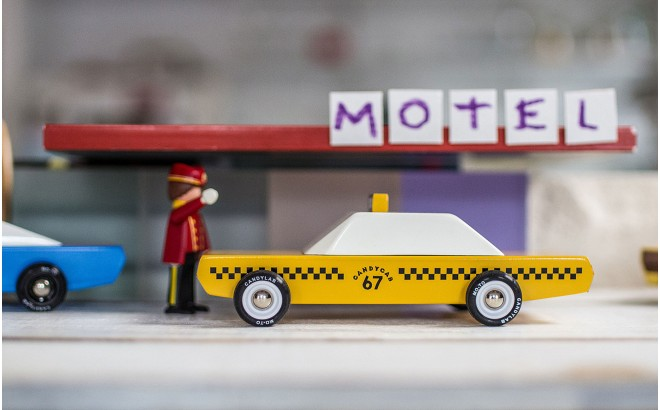 wooden yellow cab for boy kids CandyCab by CandyLabToys