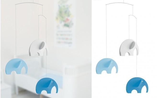 móvil elefante Flensted azul y blanco para habitación infantil