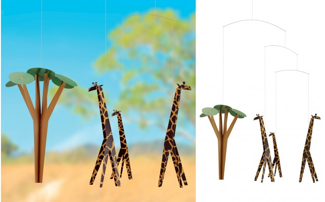 giraffe baby mobile Flensted for kids room