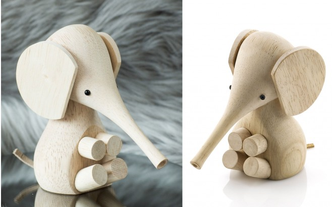 Wooden Baby Elephant by Lucie Kaas