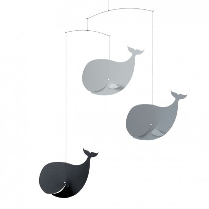 mobile bébé baleines gris Flensted pour décoration chambre bébé