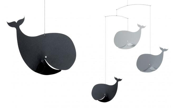 móvil ballena Flensted gris y negro para habitación infantil